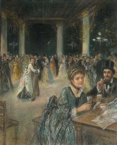 2: Jean BÉRAUD (1849-1935)Ball Pastel, signed on bottom