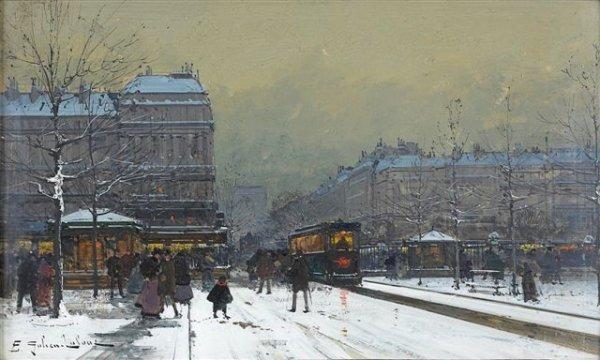 4: Eugène GALIEN-LALOUE (1854-1941) Trolley in the Snow