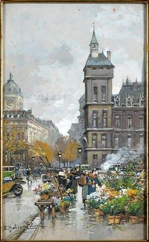 6: Eugène GALIEN-LALOUE (1854-1941)  Flower Market Goua