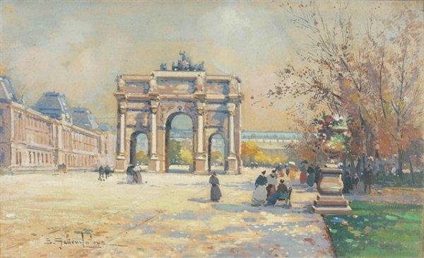 7: Eugène GALIEN-LALOUE (1854-1941)  The Louvre Gouache