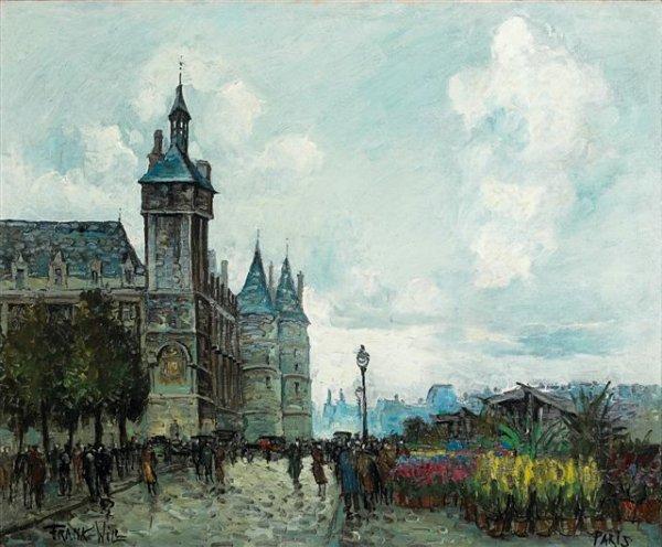 9: FRANK-WILL (1900-1951)  Marché aux fleurs sur la Sei