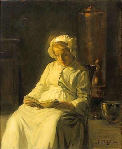 18: Joseph BAIL (1862-1921) Reading Oil on canvas, sign