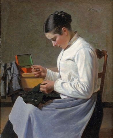 19: Charles LAUNAY (XIXe-XXe siècle)The Seamstress Oil