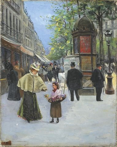20: Abel TRUCHET (1857-1918) Flower Seller in Paris Oil