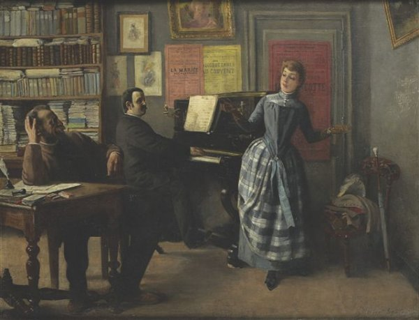 22: Robert SAUREAU (XIXe siècle) The music seller Oil o