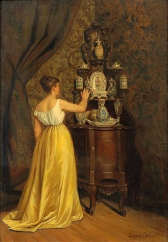 23: Louis CORDIER (né en 1823) Woman in a Living Room O