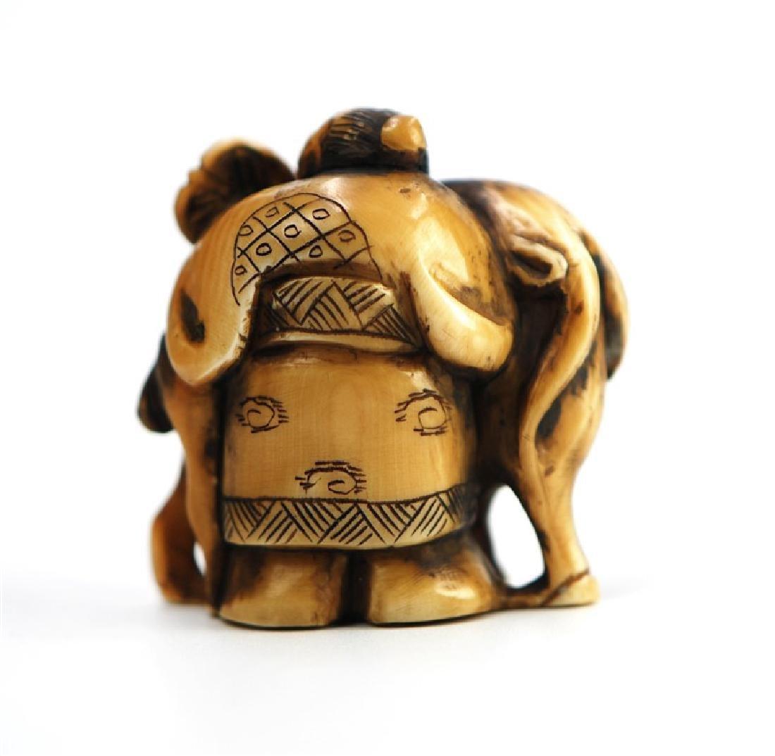 JAPANESE NETSUKE CARVED GOAT; EDO PERIOD(1603-1867) - 2