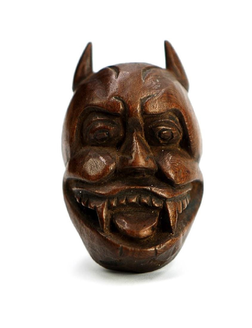 JAPANESE NETSUKE CARVED MASK; EDO PERIOD (1603-1867)