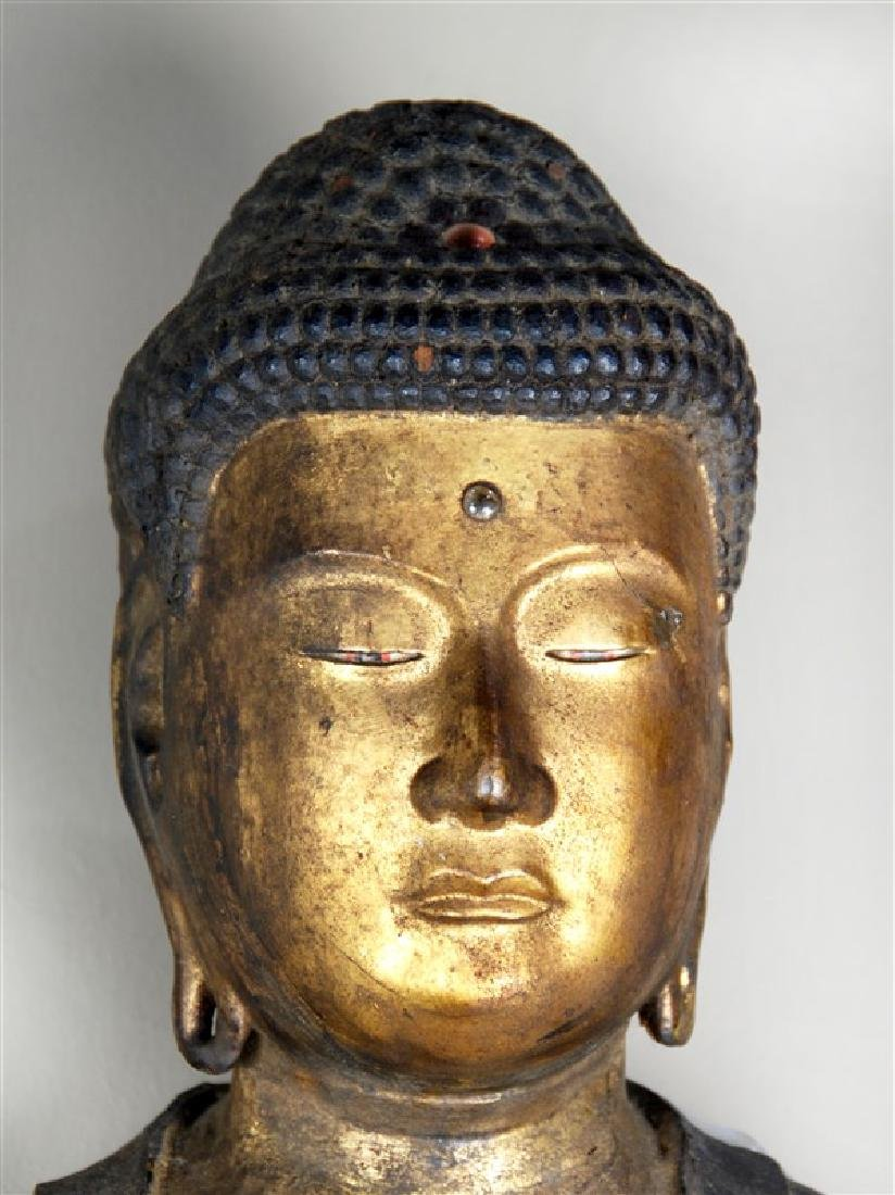 A LARGE CARVED GILT WOOD STANDING BUDDHA,EDO - 2