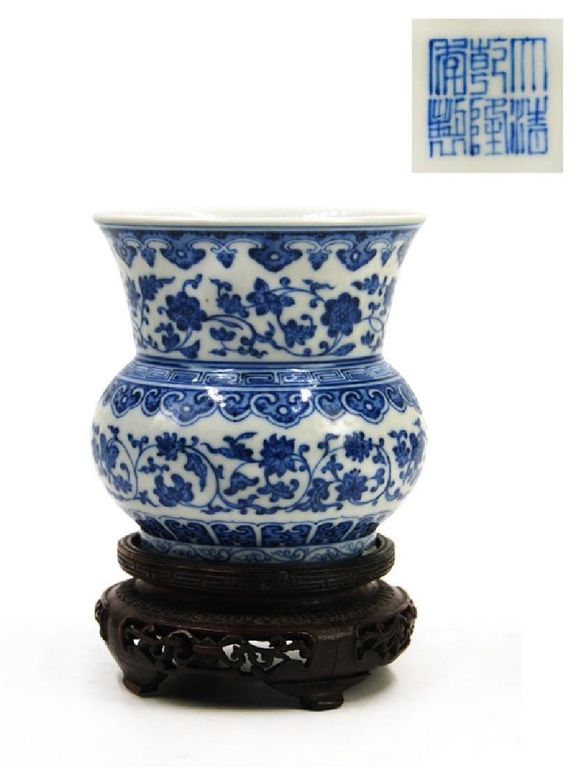 A SMALL BLUE AND WHITE ZHADOU BEAKER,QINGLONG MARK