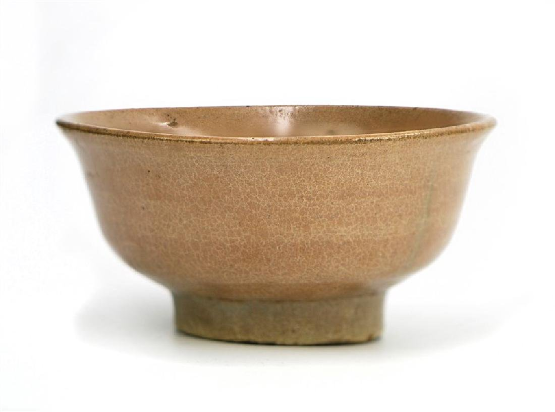 TEA GLAZED RAISED BOWL, JOSEON DYNASTY (1394-1897)