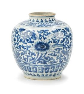 BLUE AND WHITE JAR; MING DYNASTY(1368-1644)