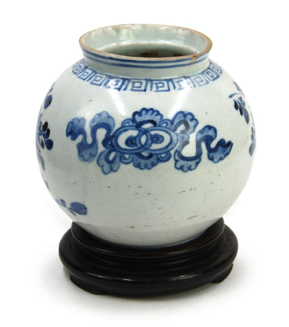 KOREAN BLUE AND WHITE MOON JAR; JOSEON DYN (1394-1897)