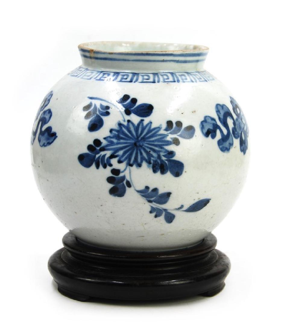 KOREAN BLUE AND WHITE MOON JAR; JOSEON DYN (1394-1897) - 2