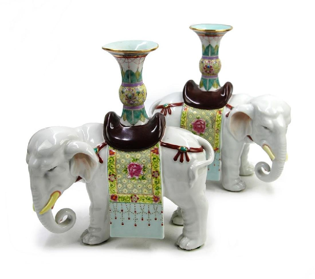 PAIR PORCELAIN ELEPHANTS