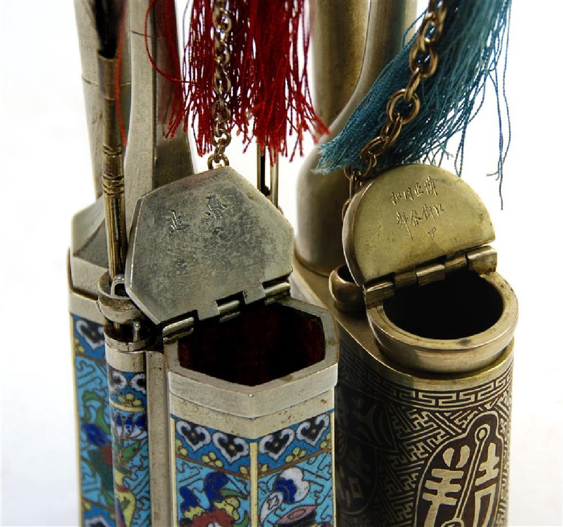 PAIR OF CLOISONNE OPIUM PIPES - 2