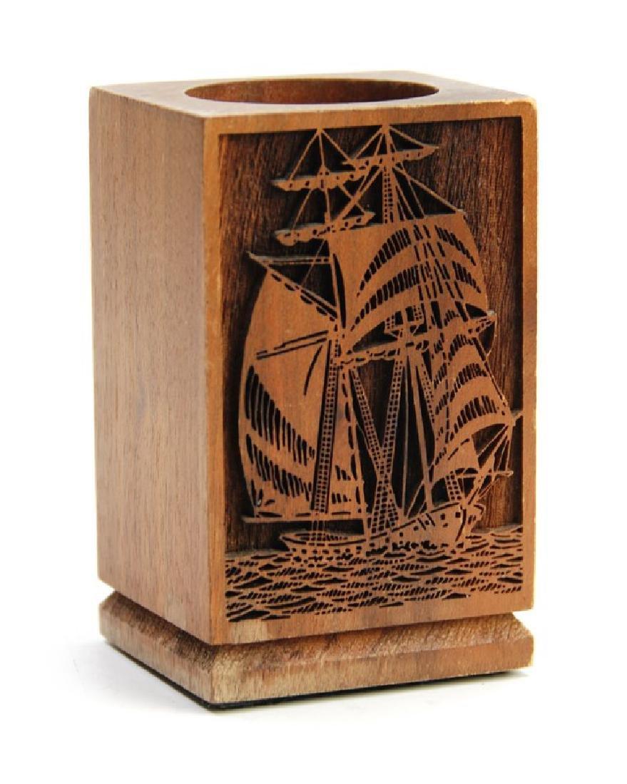 WOOD PENCIL HOLDER SHIPS - 2
