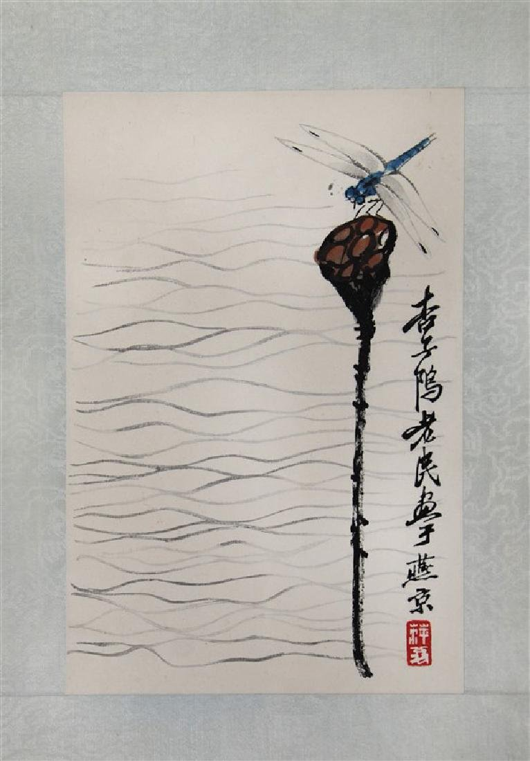 INK ON PAPER <DRAGONFLY ON LOTUS BUD INSCRIBED AND SIGN