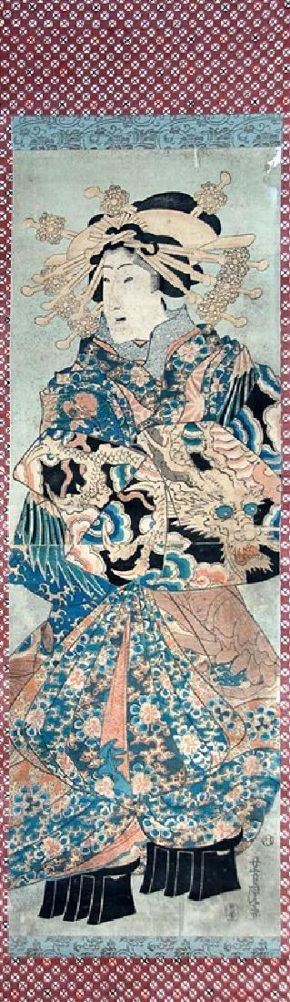 JAPANESE WOODBLOCK PRINT OF A GEISHA LADY