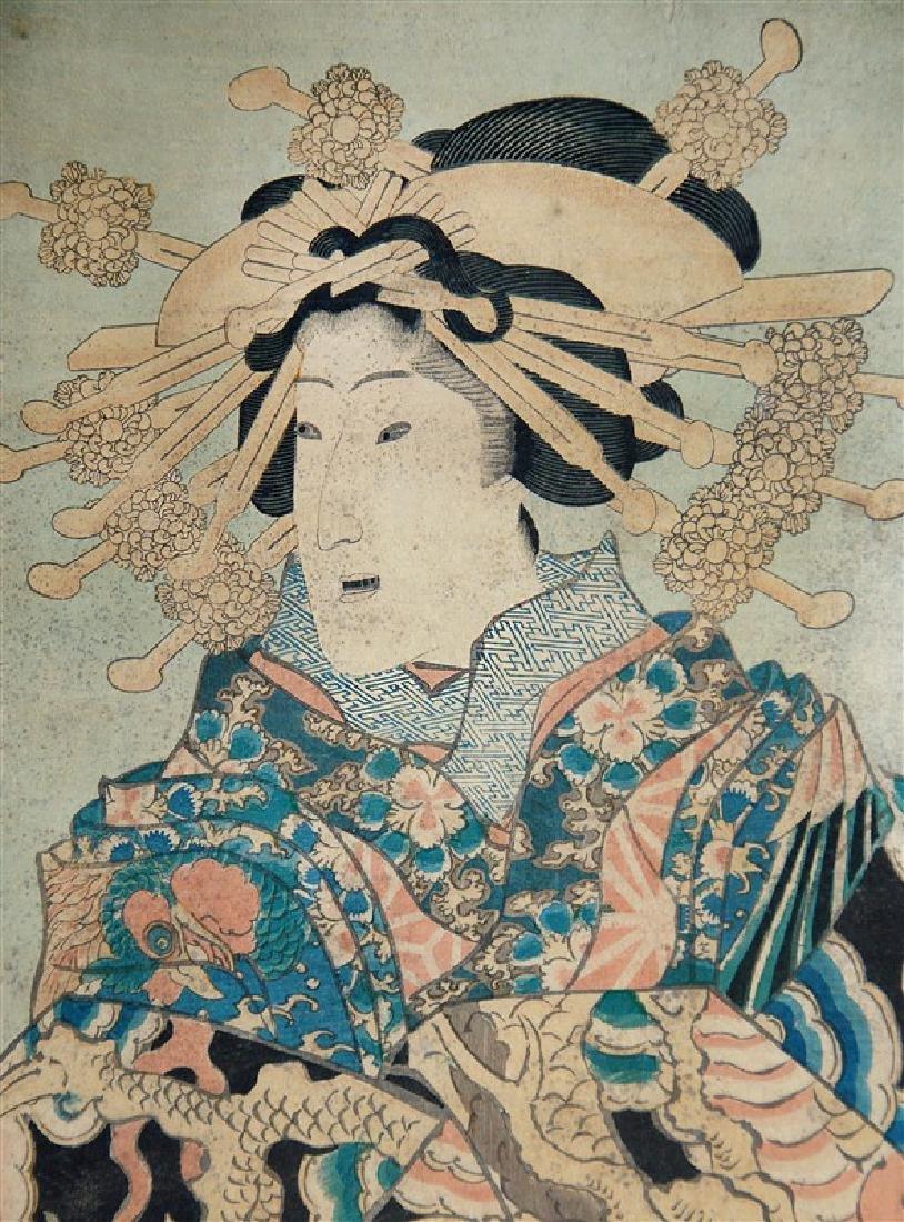 JAPANESE WOODBLOCK PRINT OF A GEISHA LADY - 3