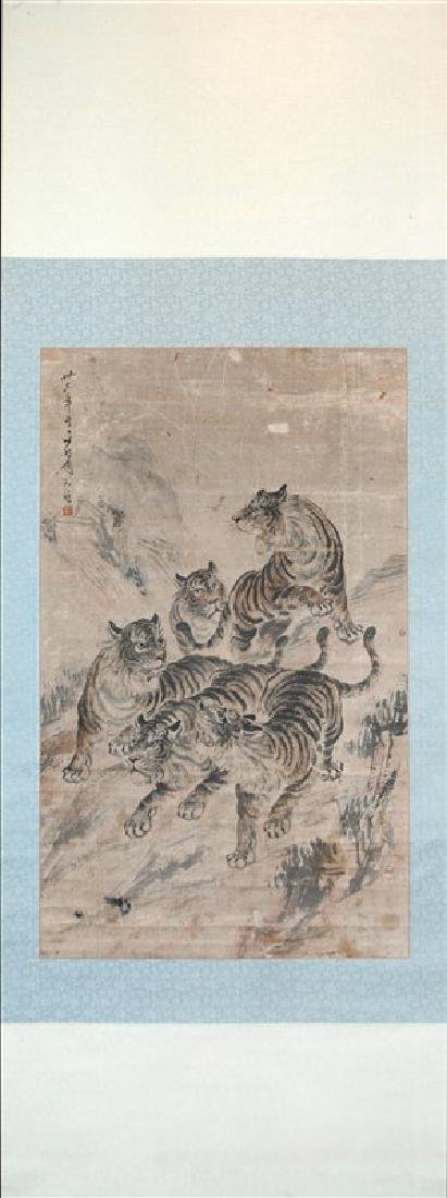 SCROLL OF TIGERS PAINT ON PAPER SCROLL