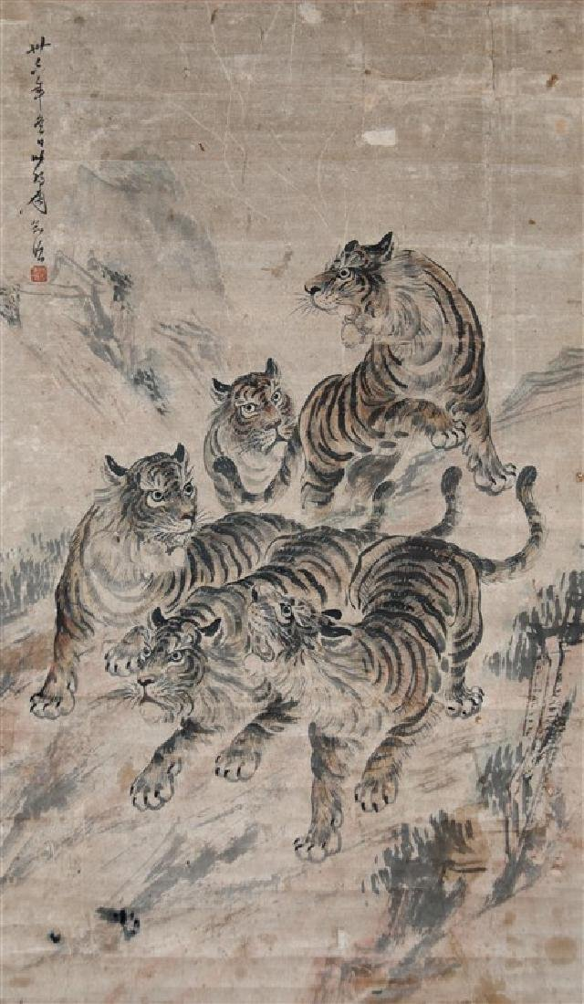 SCROLL OF TIGERS PAINT ON PAPER SCROLL - 2