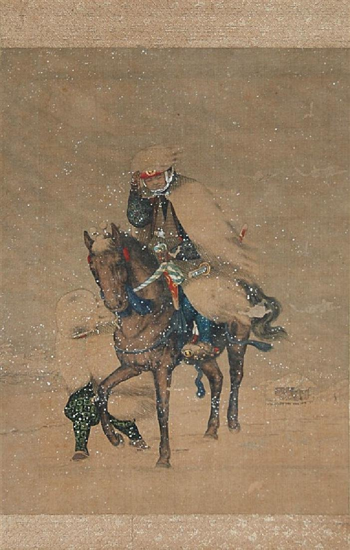 ANONYMOUS SCROLL HORSEBACK IN SNOW