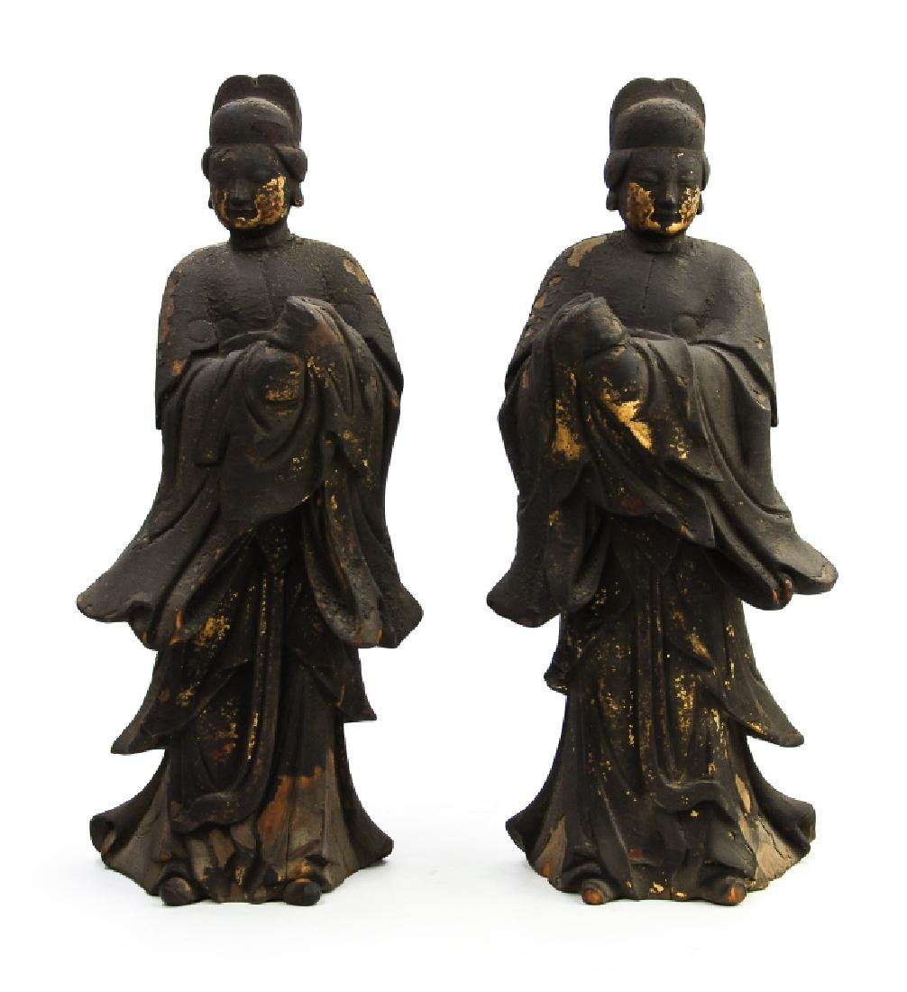 PAIR OF MING WOOD CARVED GILT WATCHER FIGURES