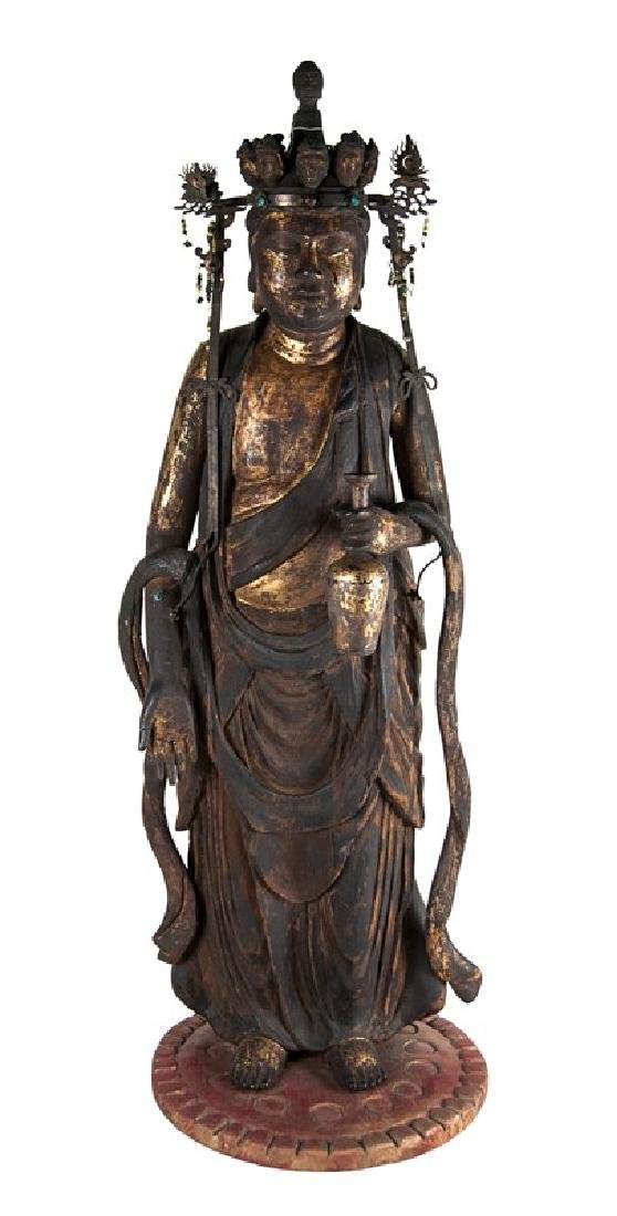 WOOD CARVED GILT STANDING GUANYIN; 17TH-18TH