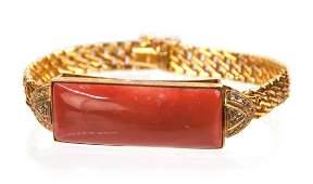 18K GOLD CORAL DIAMOND BRACELET