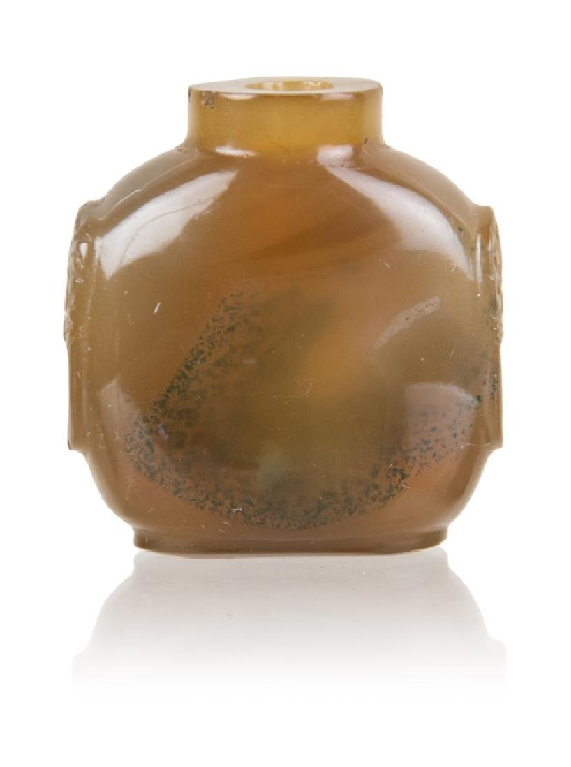 AGATE CARVED SNUFF BOTTLE WITH BEAST HANDLES