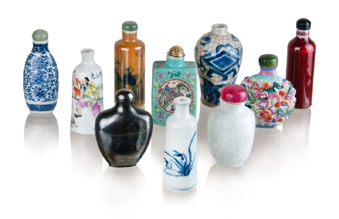 COLLECTION OF TEN SNUFF BOTTLES