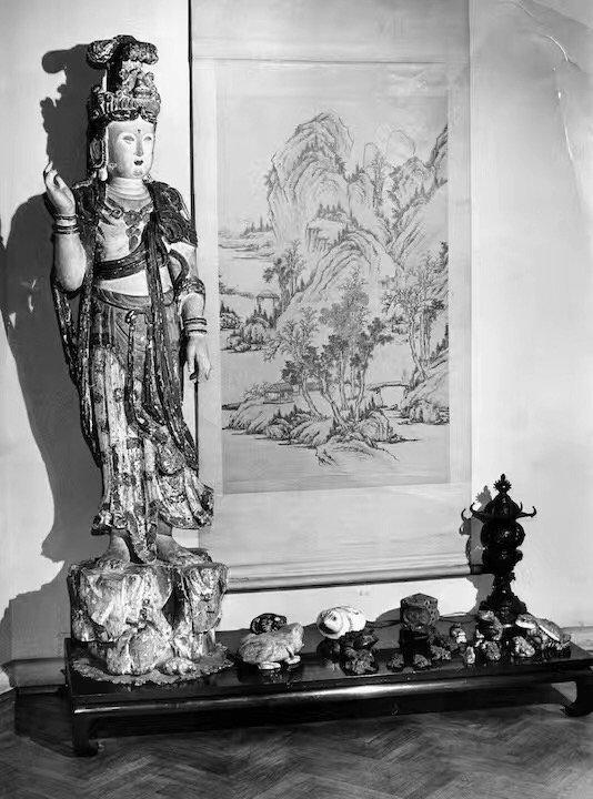 POLYCHROM WOOD CARVED GUAN YIN; YUAN DYNASTY