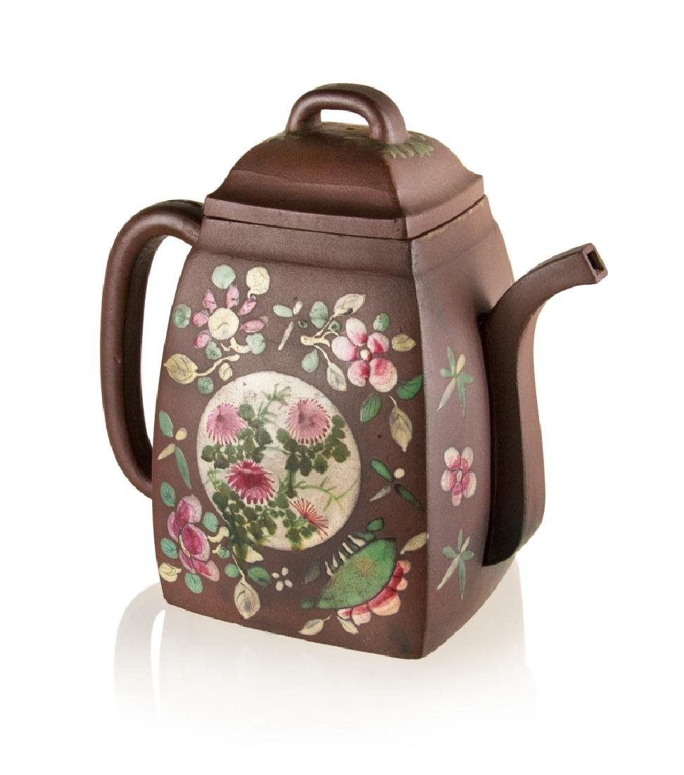 CHINESE ENAMELED PURPLE CLAY TEAPOT