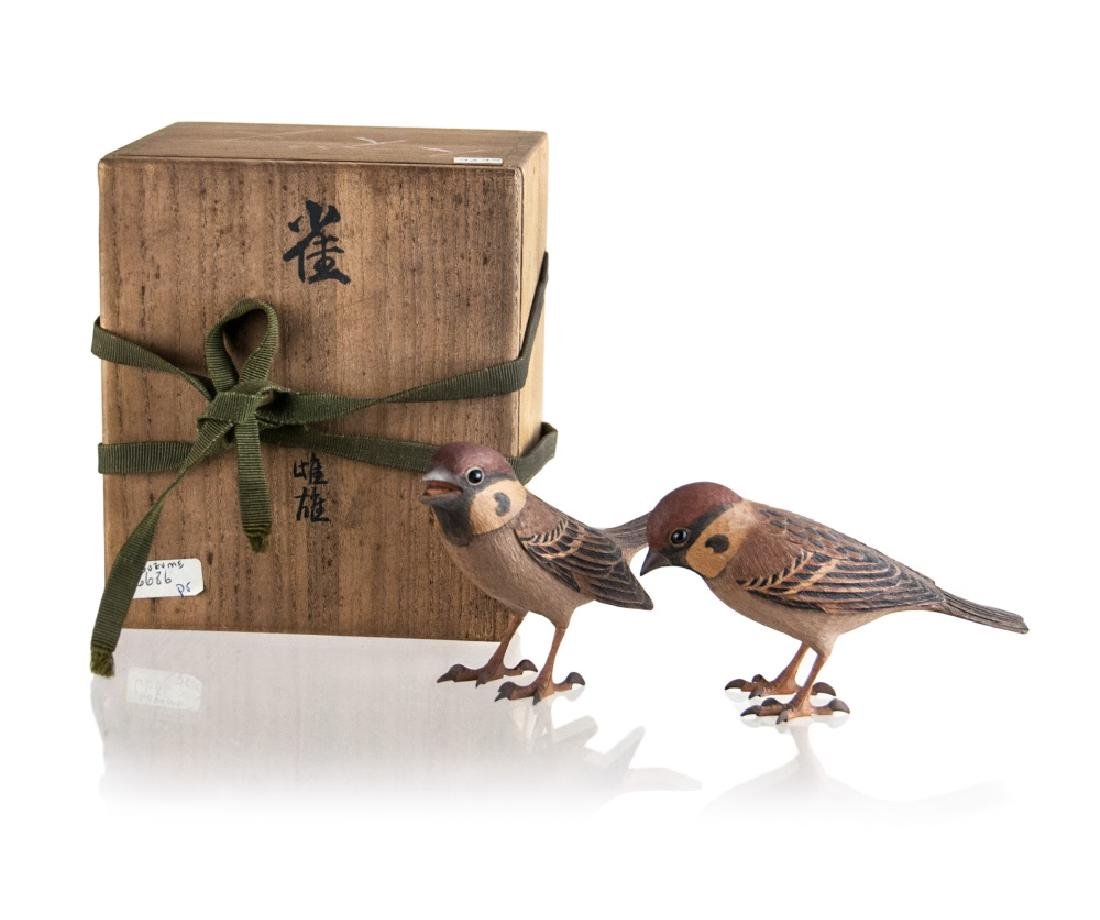 A  PAIR OF WOOD CARVED SPARROWS