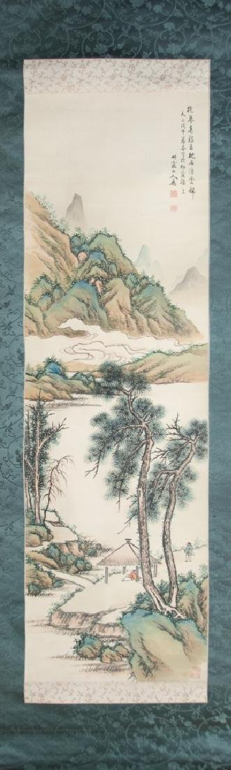 SCROLL PAINTING OF MOUNTIAN VIEW BY HIRA OKUKA
