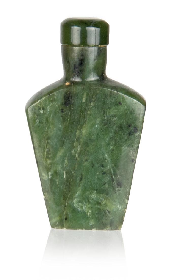 SPINACH JADE CARVED SNUFF BOTTLE