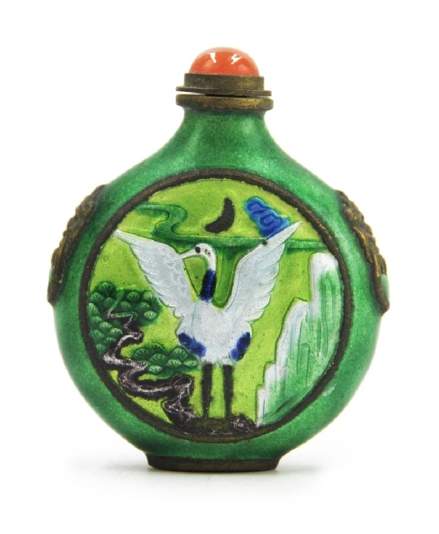 GREEN ENAMELED CRANE SNUFF BOTTLE