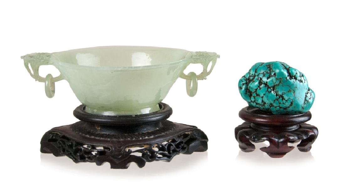 CARVED JADE CUP AND TURQUOISE NUGGET