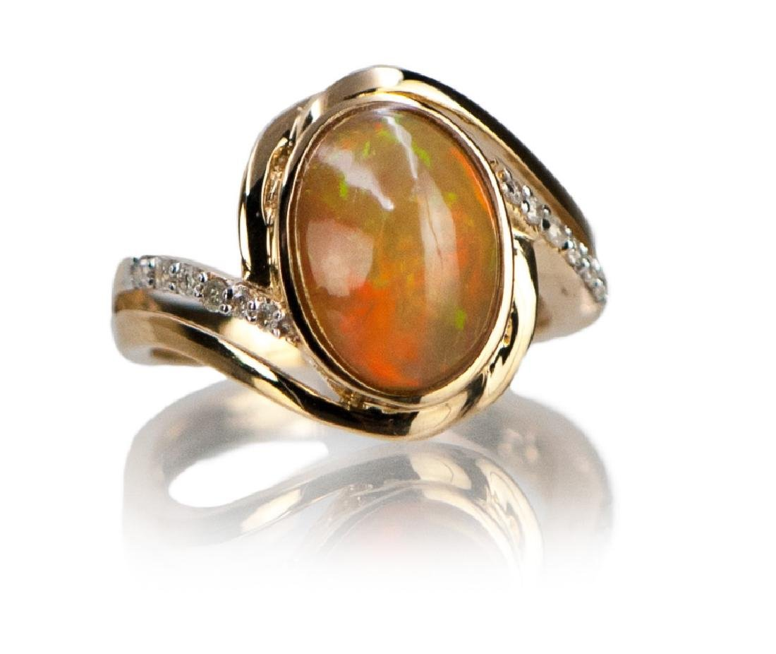 FIRE OPAL AND DIAMOND GOLD RING