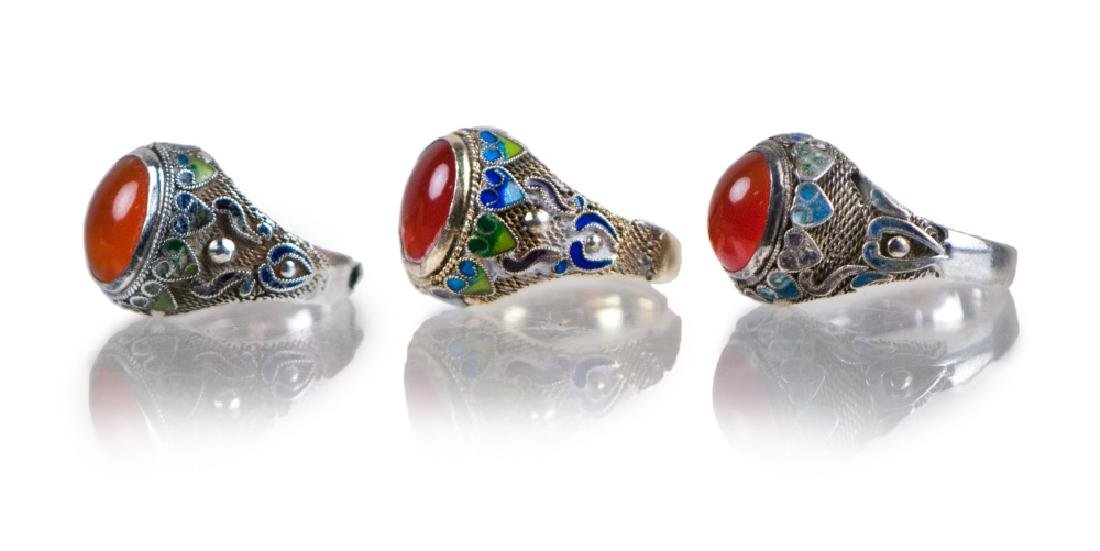 CHINESE SILVER ENAMELED AGATE RINGS SET OF 3