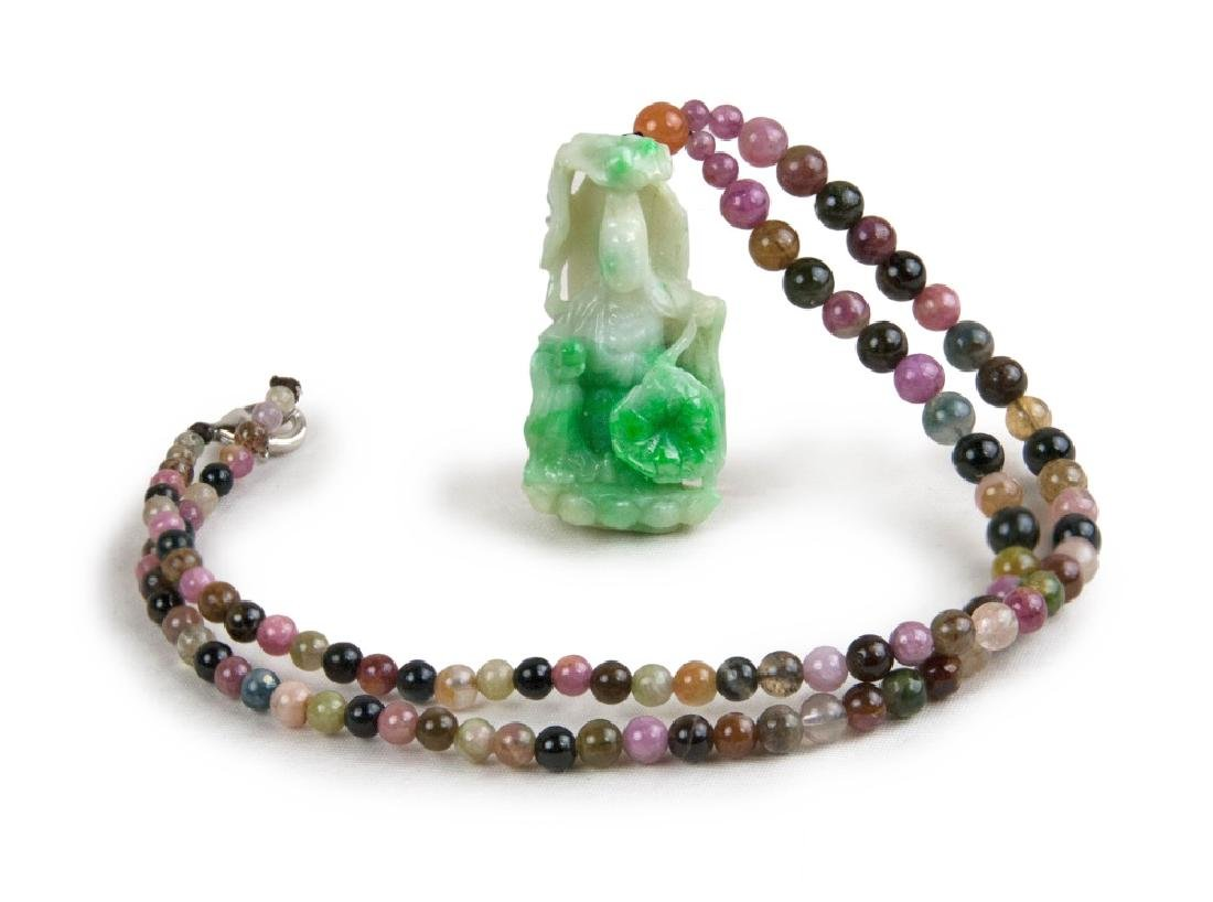 JADE CARVED GUANYIN PENDANT NECKLACE