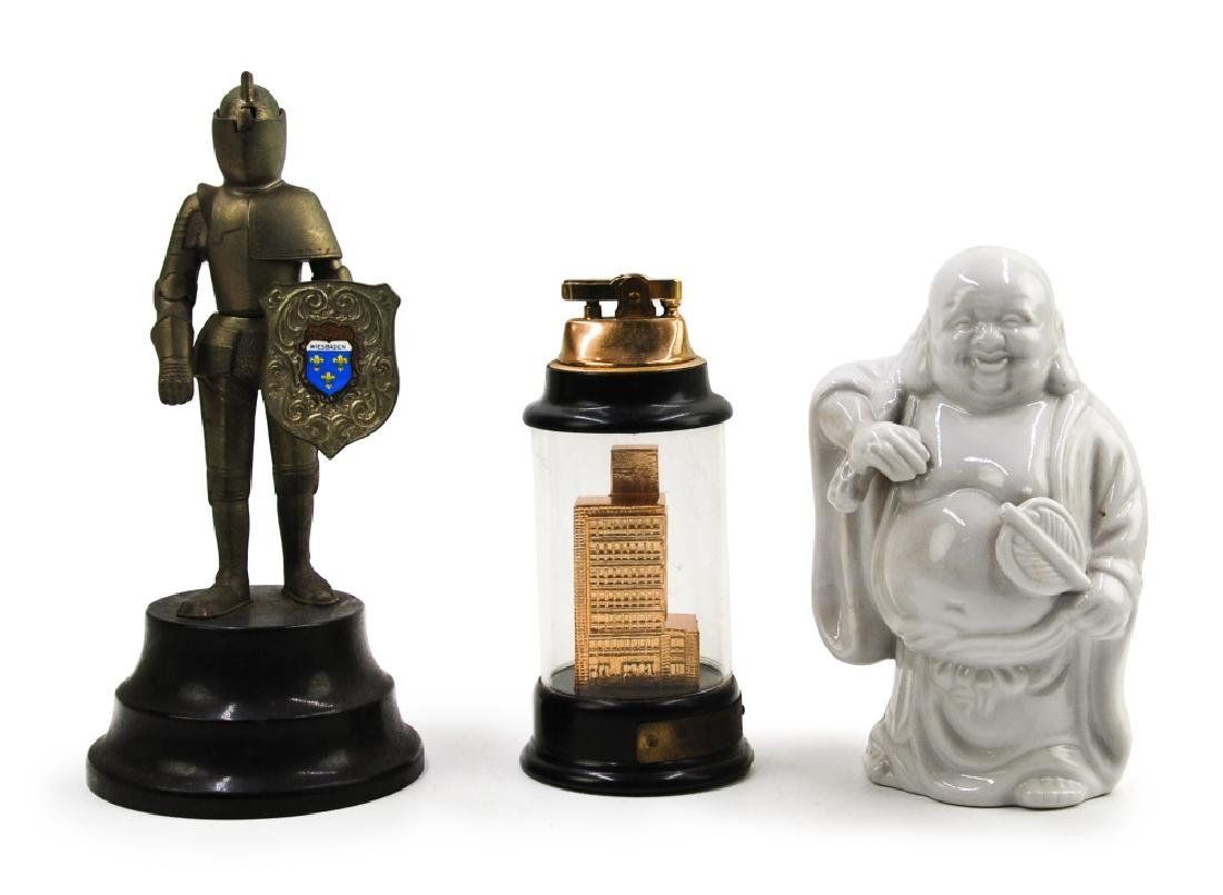 GROUP OF LIGHTERS AND A PORCELAIN HOTEI