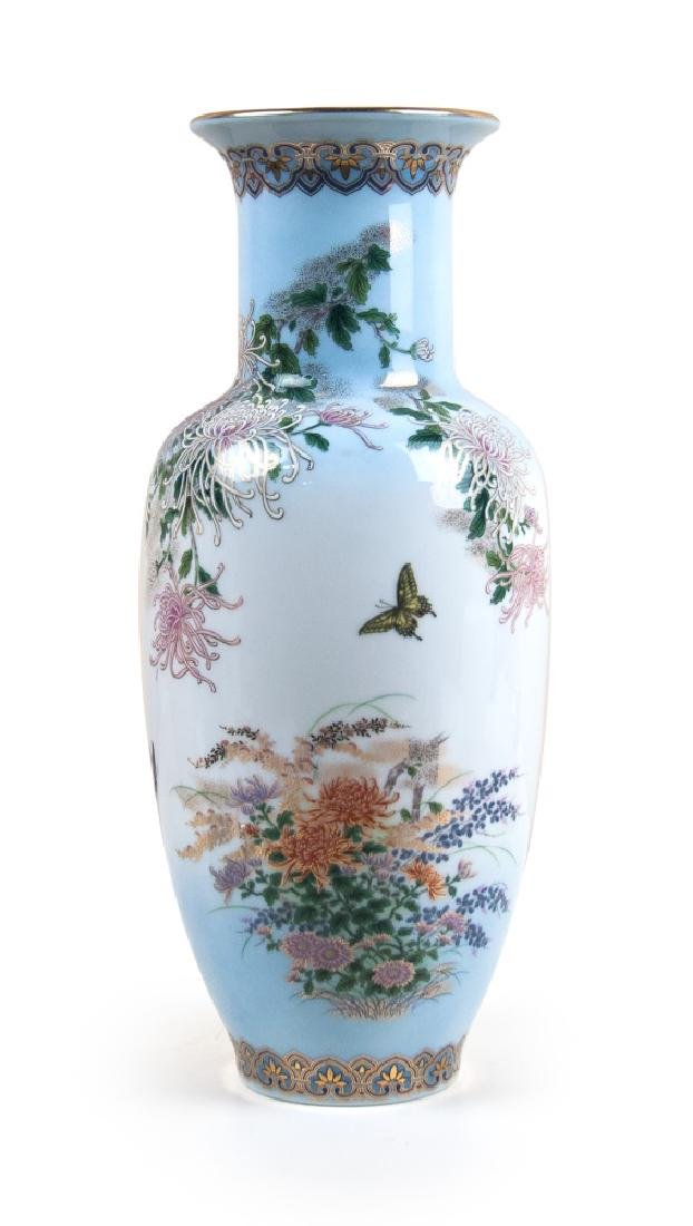 JAPANESE BUTTERFLY AND CHRYSANTHEMUM VASE