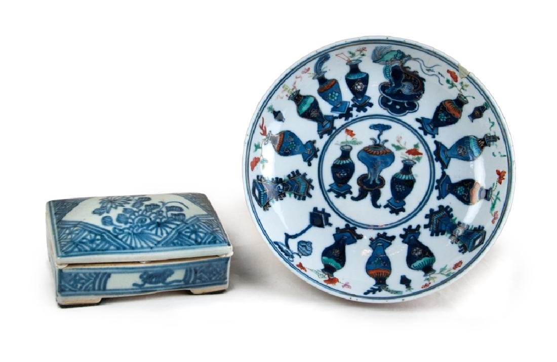 PORCELAIN PLATE AND BOX PAIR