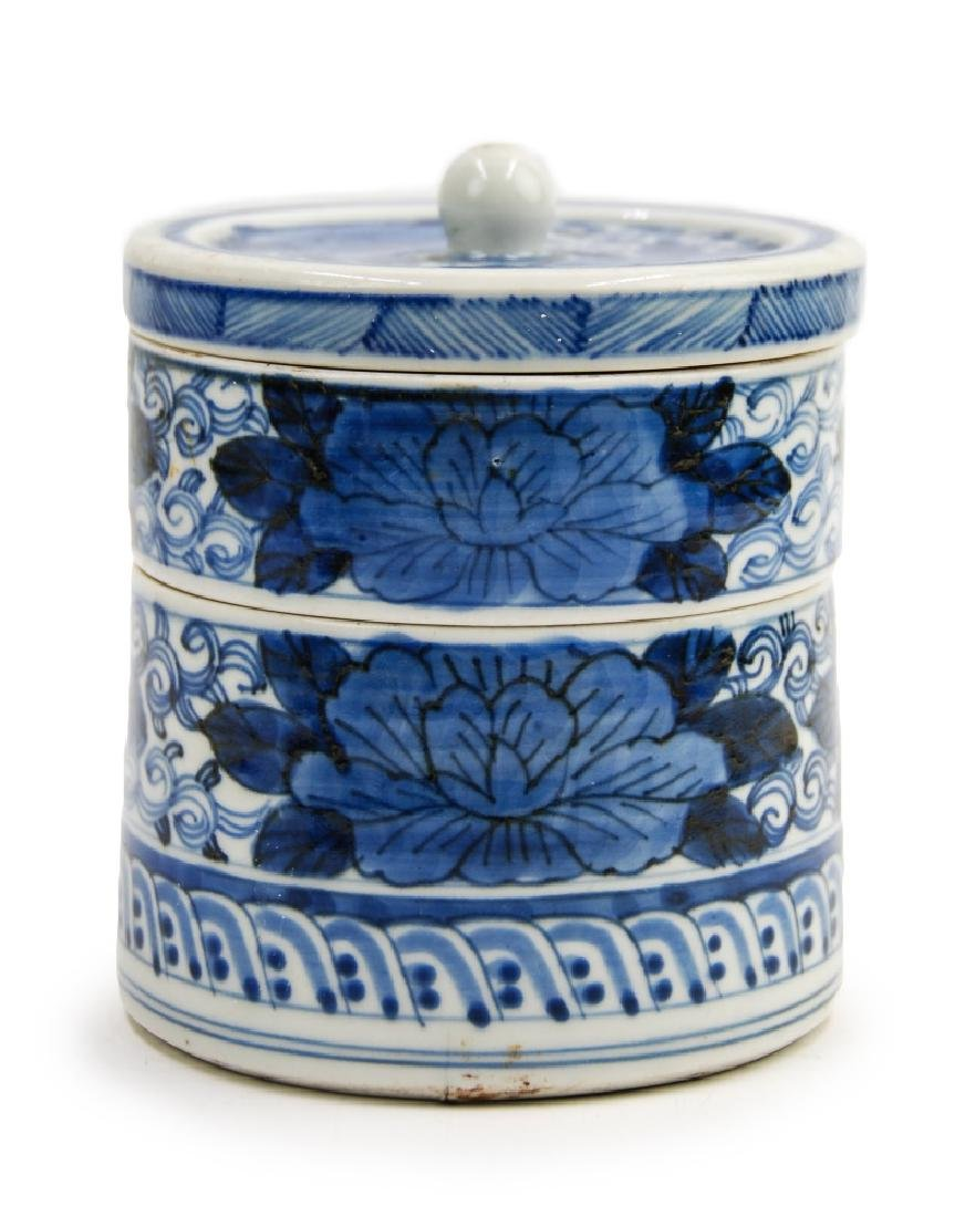 BLUE AND WHITE TIERED TEA CADDY
