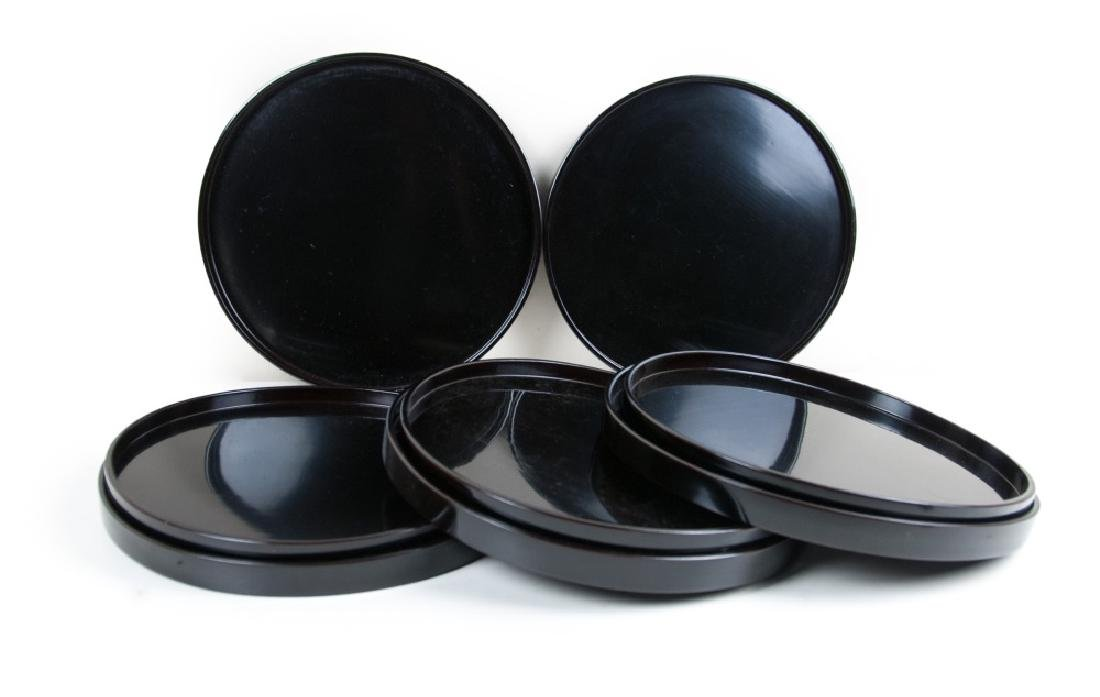 JAPANESE BLACK LACQUER TRAY SET OF 8