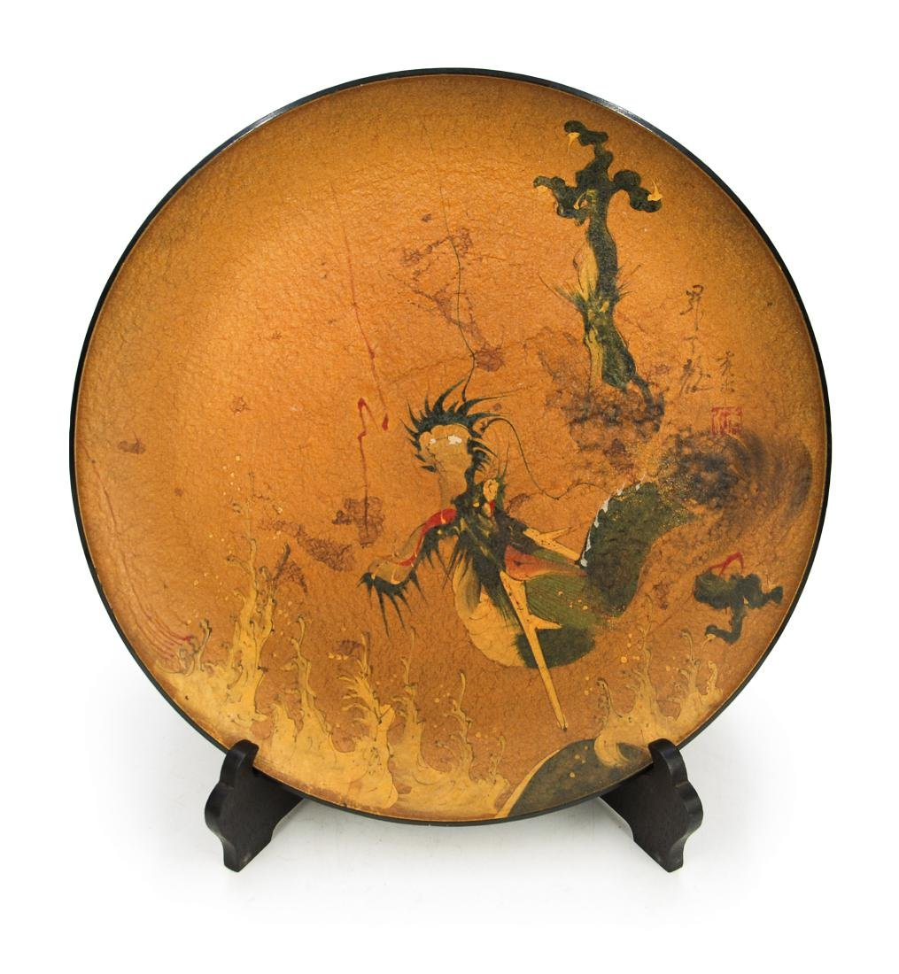 JAPANESE LACQUER DRAGON PLATE