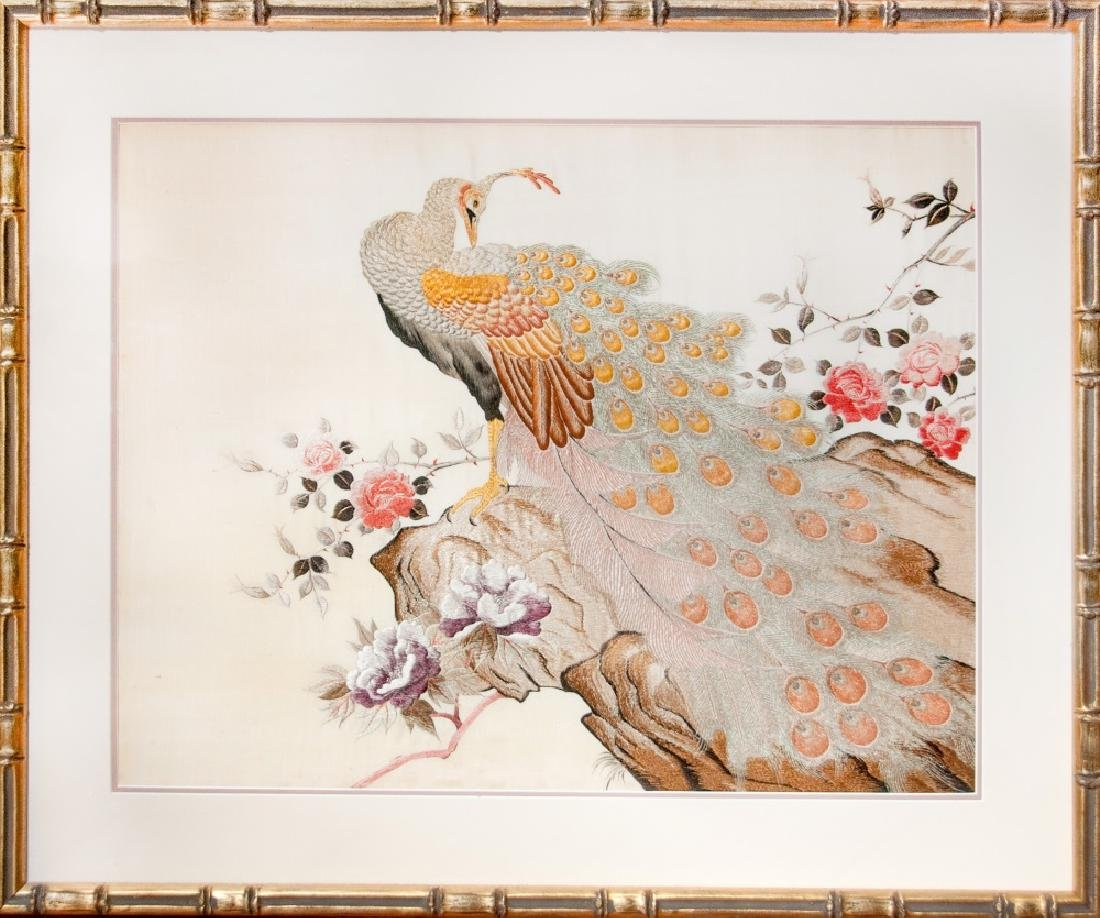 FRAMED EMBROIDERY OF PEACOCK AND FLOWERS