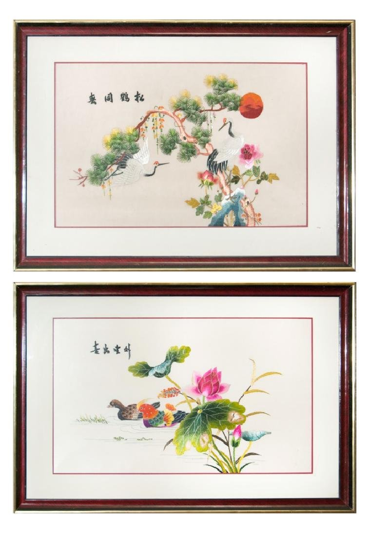 PAIR OF EMBROIDERY 'PAINTINGS,' DUCKS AND CRANES